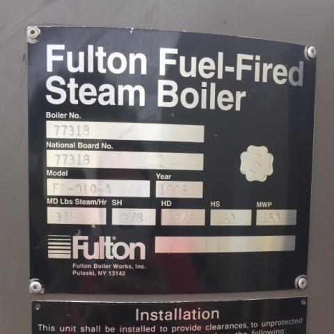 10 HP FULTON STEAM BOILER