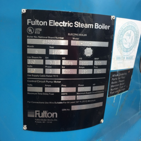 10 HP FULTON ELECTRIC STEAM BOILER