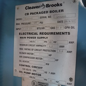 216-FS10171 5 70 HP CLEAVER BROOKS 1993