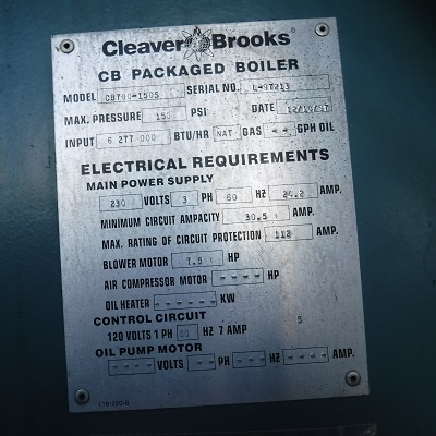 225-FS11172 150 HP CLEAVER BROOKS 1997 NB# 3032