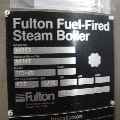 271-FS08196 20 HP FULTON 1999 NB# 84147 TAG
