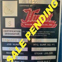 287-FS07201 25 HP HURST STEAM BOILER 2012 NB# 18501 TAG SALE PENDING