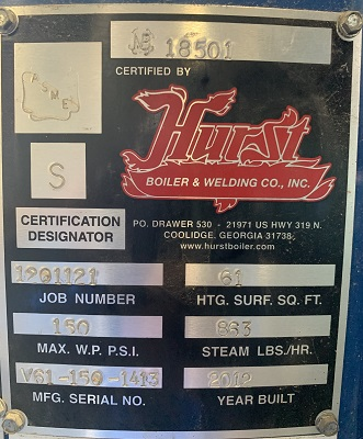 287-FS07201 25 HP HURST STEAM BOILER 2012 NB# 18501 TAG